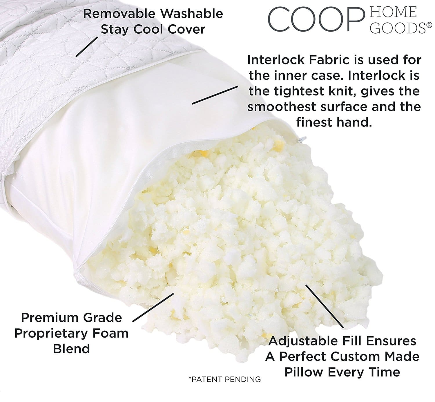pillow for neck pain - Coop Shredded Memory Foam Pillow