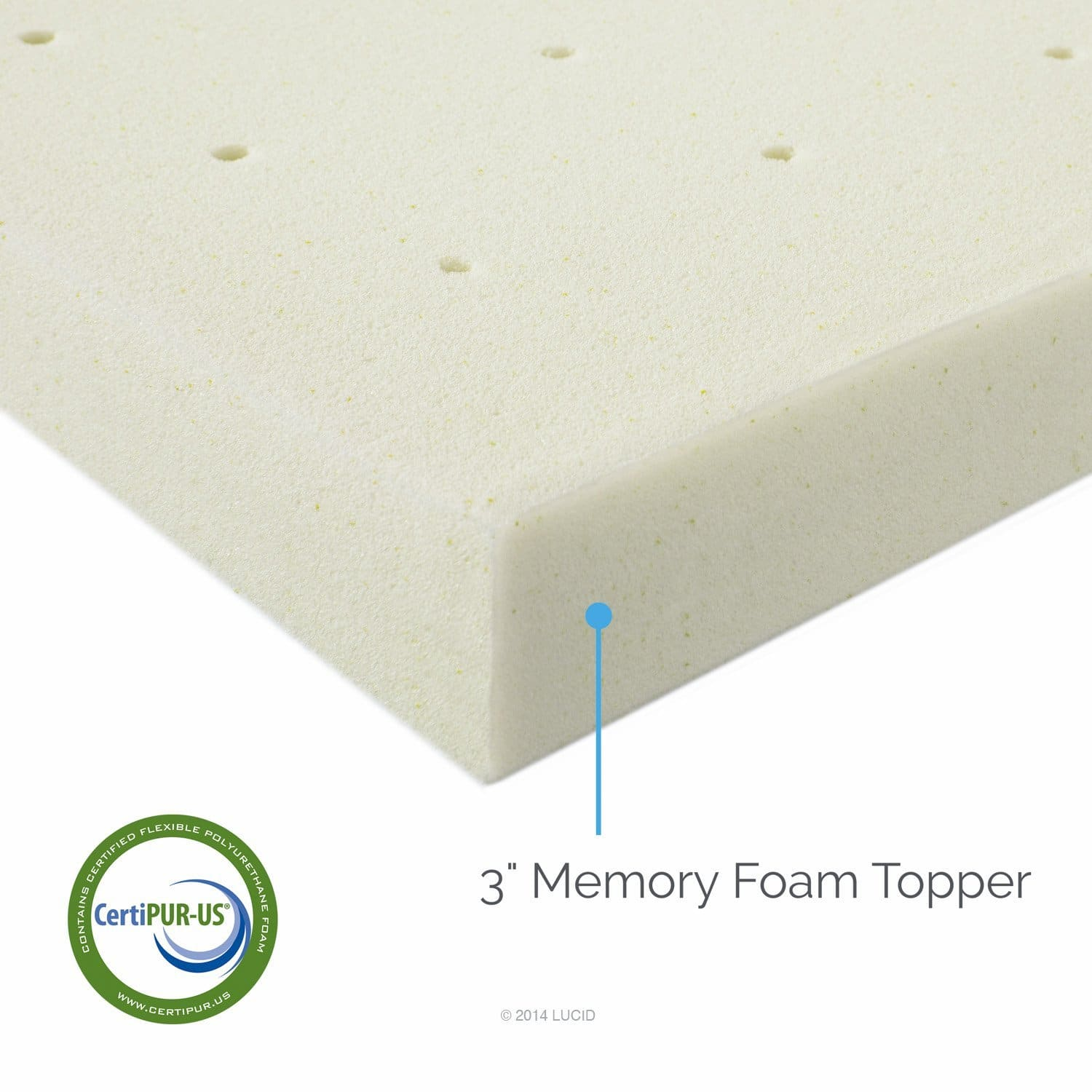 memory foam mattress topper - LUCID 3inch Ventilated Memory Foam Mattress Topper